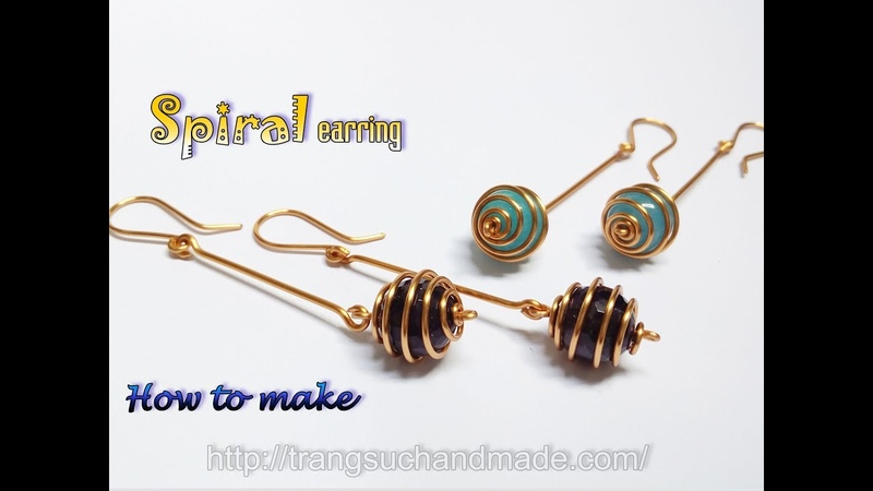 Spiral earring with spherical stone - Simple jewelry from copper wire 402