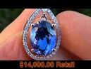 D-Block GIA Certified Tanzanite Diamond Pendant Solid 18K