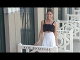 Kate Beckinsale revealing her name on the cabine during the 2018 Deauville film festival