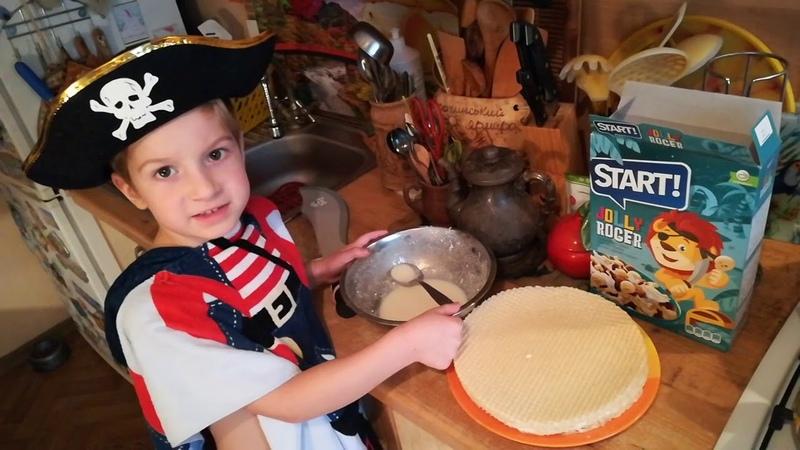 Мартын готовит Пиратский торт Участие в конкурсе от Вафельные коржи Лекорна ;