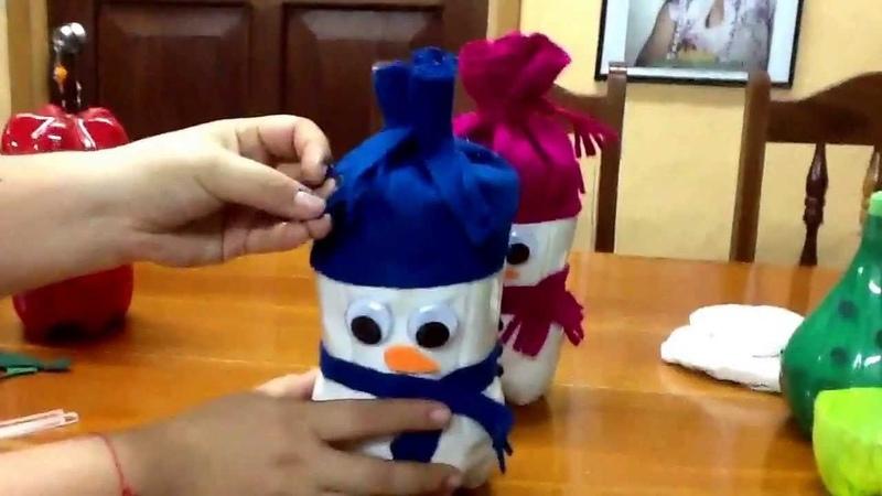 Muñecos d nieve d botellas pet
