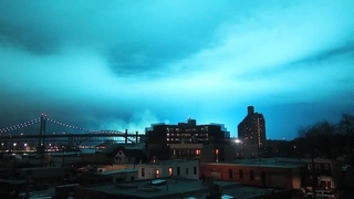 STRANGE BLUE LIGHTS in the sky, 9 p.m.Queens, NYC - Transformer explosion? in HD · #coub, #коуб