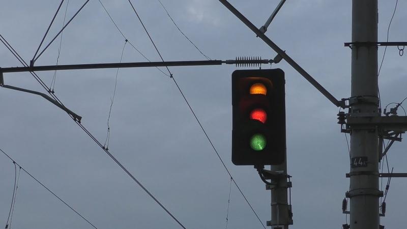 Переключения проходных светофоров с разных ракурсов