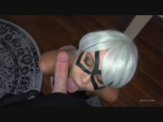 Bryci - gorgeous juicy woman perfectly sucks dick in mask on webcam, blowjob deepthroat porno