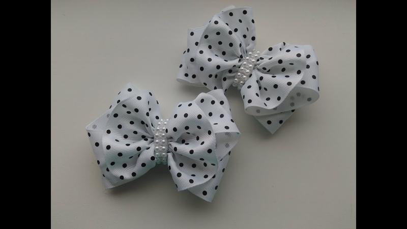 Заколки для волос из репсовых лент МК Канзаши Hair clips from REP ribbons
