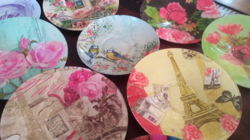 DIY:Upcycle/Decoupage/Modpodge Glass Plates/Saucers with Paper Napkin/Tissue Paper