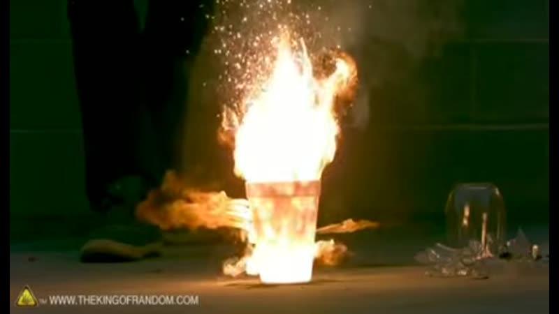 Liquid Oxygen burning steel wool Styrofoam cup = amazing reaction