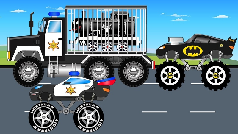 Batman Truck And Police Monster Truck Vs Venom Video For Kids