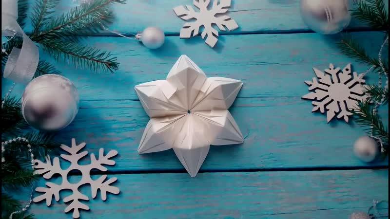 Небольшая снежинка из бумаги