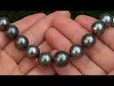 Estate 14.00 mm Natural South Sea Black Tahitian Pearl 14k White Gold Vintage Necklace - A141044