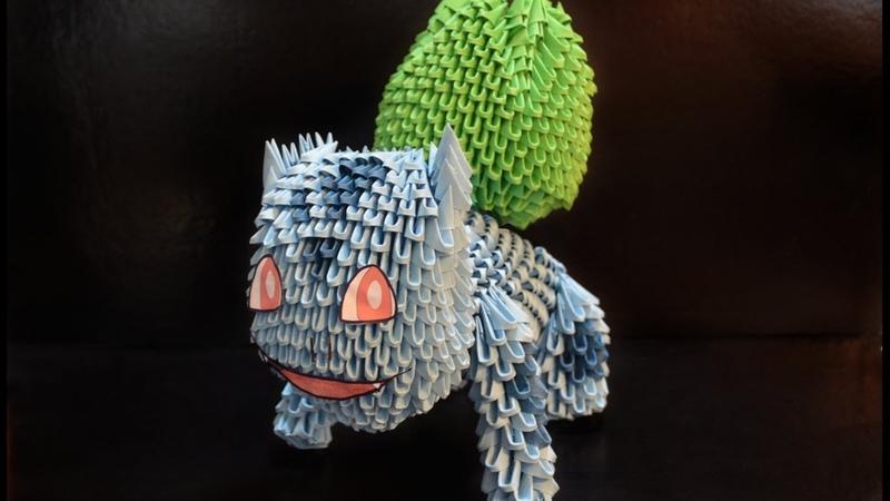 Part 2/4 - Origami 3D tutorial - How to make a Bulbasaur (Pokemon)