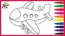 Рисуем крутой самолетик . Мультик . Раскраски для детей .We draw a cool airplane.
