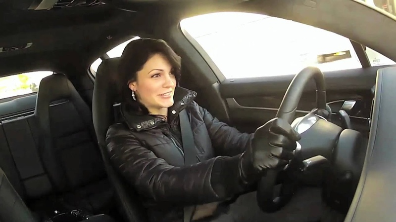 Hot Chick Launching Porsche Panamera Turbo