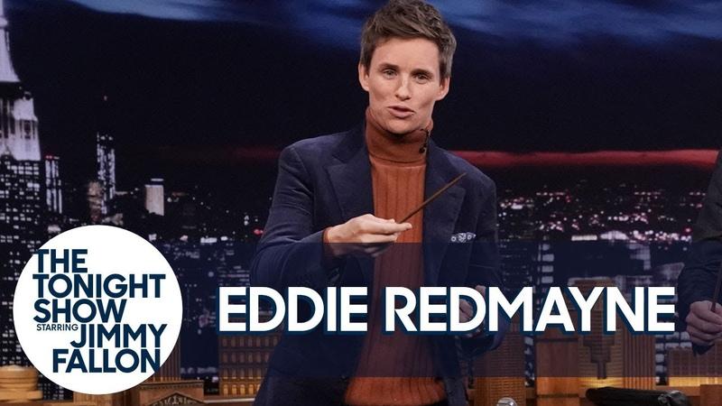 Eddie Redmayne Teaches Jimmy Fantastic Beasts Wand Moves