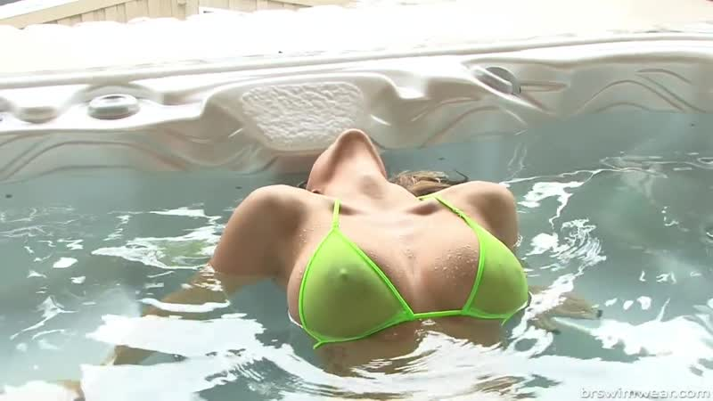 Rub A Dub Dub Sheer Green Micro Bikini In A Hot Tub