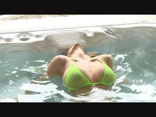 Rub A Dub Dub Sheer Green Micro Bikini In A Hot Tub