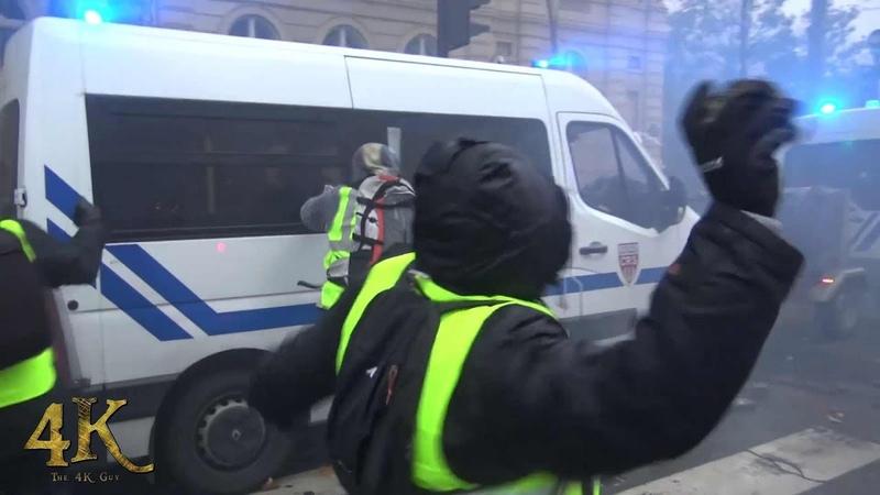 Paris Violence extrême des gilets jaunes Violent riots by yellow vests December 2018