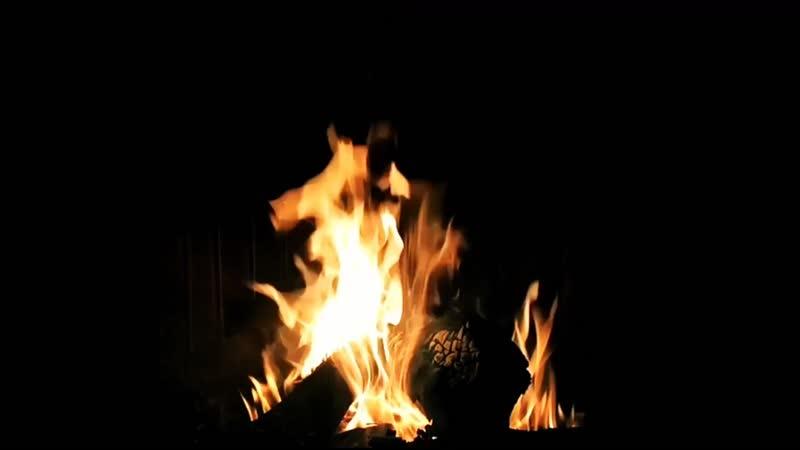 Огонь у костра ночью / Fire campfire at night