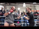 FURY OUS HEAR TYSON'S POWER SNAPS ON HANDPADS UP CLOSE