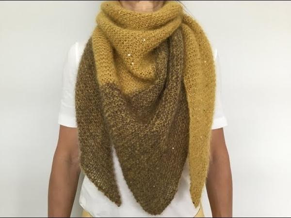 Двухцветный шейный платок Бактус. Работа над ошибками.Two - tone triangle scarf.