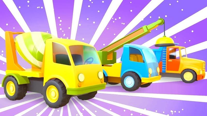 Veículos de serviço. Nova estrada para carros e caminhões. Animação infantil.