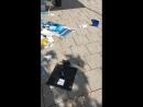 Linksfaschisten bei der Arbeit AFD Stand zerstört