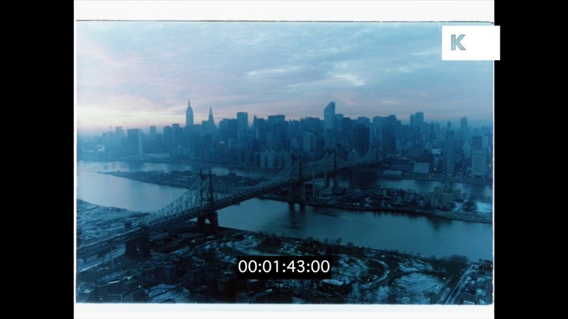 1970s New York at Dawn, East River, Triborough Bridge, 35mm
