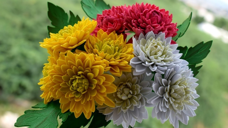 How To Make Flowers With Paper : Foam Sheet Chrysanthemum Flowers DIY