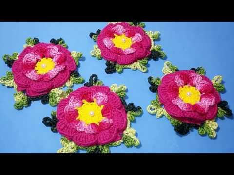 Flor Outubro Rosa em Crochê Passo a Passo