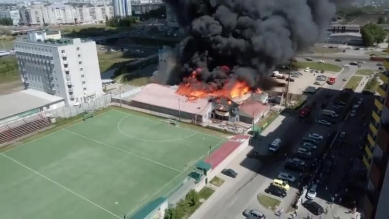 Пожар Барнаул стадион Коммунальщик 28.05.16