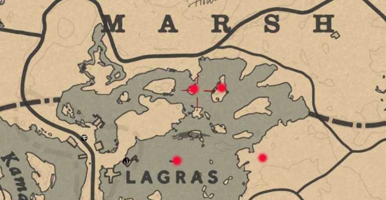 Карта тайников на болоте Bluewater Marsh в Red Dead Online