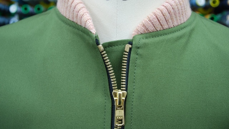 How to Sew a Separating Zipper (exposed) MA-1 Flight Jacket オープンファスナーの付け方(ムシ見せ)MA-112
