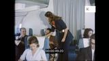 1970s Flight, Cabin Crew Serve Champagne to Plane Passengers, HD