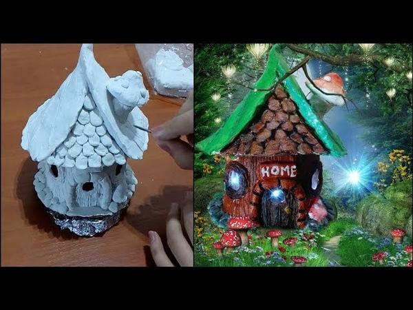 DIY fairy house with lamp using jar