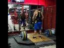 Подъём штанги 130 кг на грудь в стойку на 3 раза. Power Clean 130 kg × 3 reps.