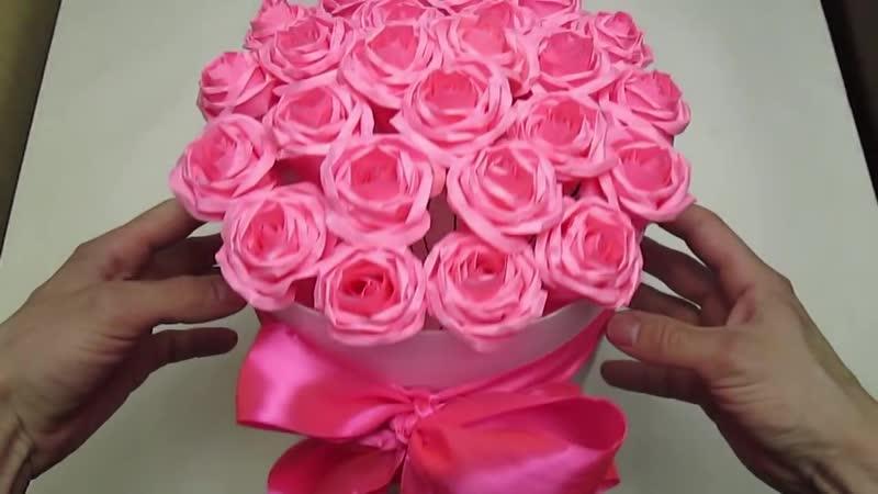 Бумажные розы в коробке