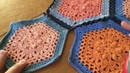 Part 1 of 2: Continuous Flat Braid JAYG for Hexagons - joining method, crochet Join as you go motifs