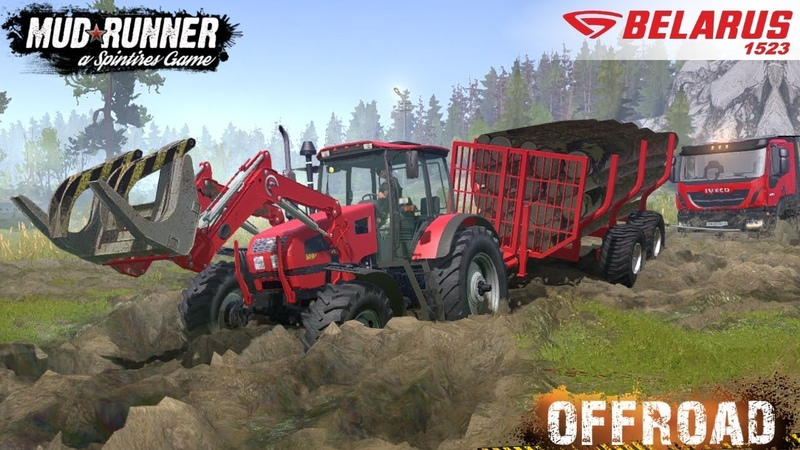 Spintires MudRunner - BELARUS 1523 Tractor Tows Dump Truck Stuck in the Mud