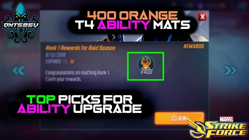 BEST Abilities For Orange T4 Materials Maxed Out BW ! - Marvel Strike Force - MSF