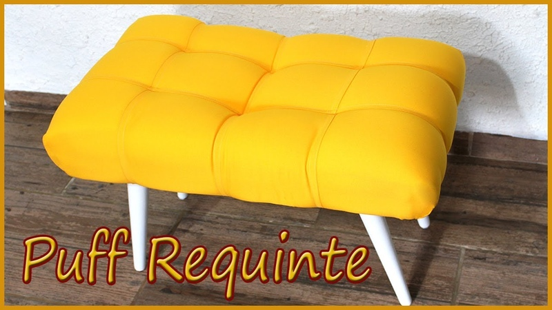Puff Requinte Decorativo,Feito com materiais alternativos, Diy Puff.