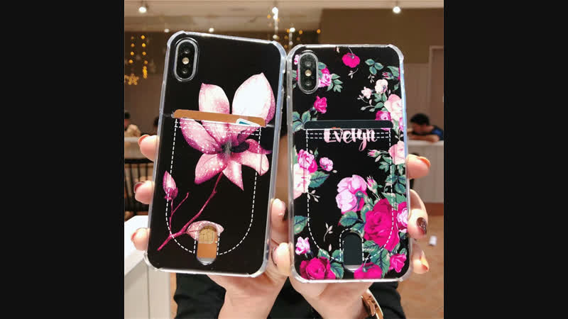 Soft Floral Case for Iphone XS MAX X XS XR Card Slot pocket Cases for Iphone 7 7plus 8 plus 6 6s Airbag Corner Protect for 5S SE