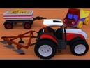 Грузовик Тема и трактор с плугом, вспашут поле и посадят картофель. Мультфильм для малышей.