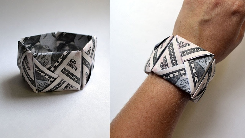 Big Money BRACELET   Origami Dollar Jewelry Idea Tutorial DIY (NProkuda)