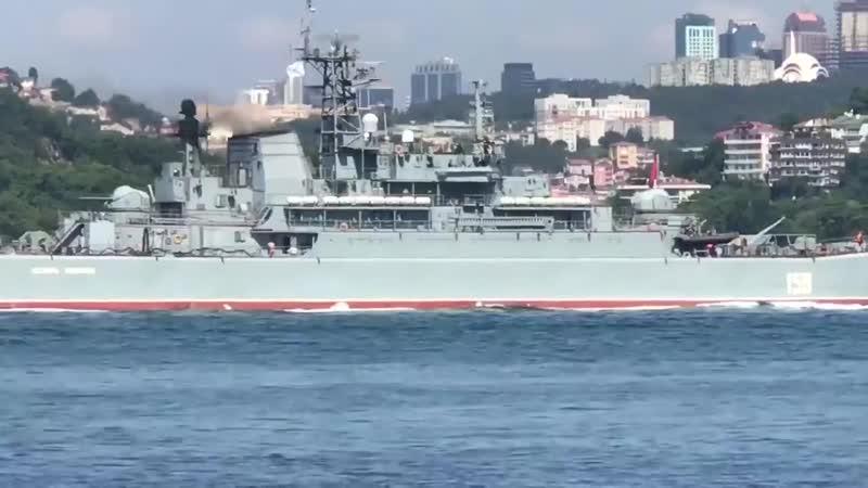 Russian Navy RFS 151 'Azov'' a Ropucha II Class landing ship of Project 775 III passes Bosporus on 23th June 2019