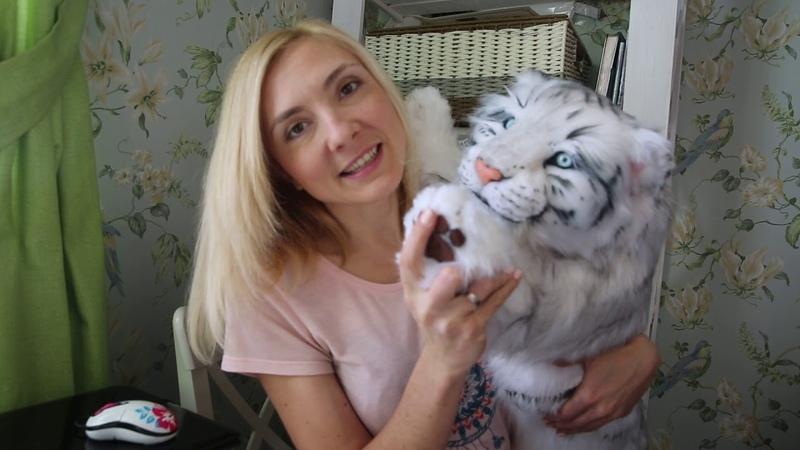 САБЛЕЗУБЫЙ ТИГРЕНОК РЕАЛИСТИЧНАЯ ПОДВИЖНАЯ МЯГКАЯ ИГРУШКА White saber tooth tiger