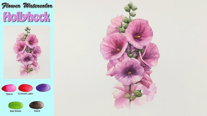 접시꽃- 꽃 수채화그리기(wet-in-wet. Arches) [남일 수채화] Hollyhock -Drawing Flower Watercolor .NAMIL ART