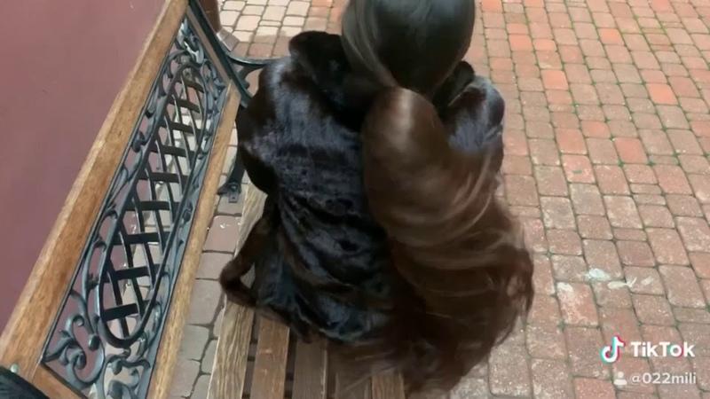 Mila long hair. Walk city. Bun drop preview