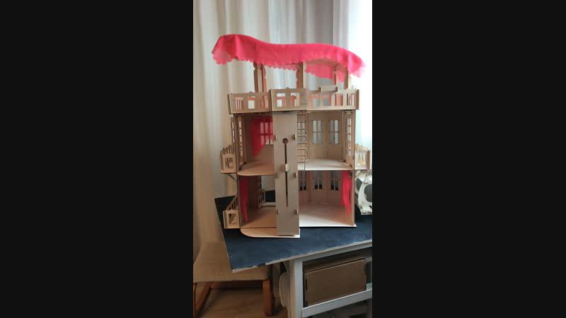 Трехэтажный кукольный дом, кукольный дом для Барби и деревянная крепость
