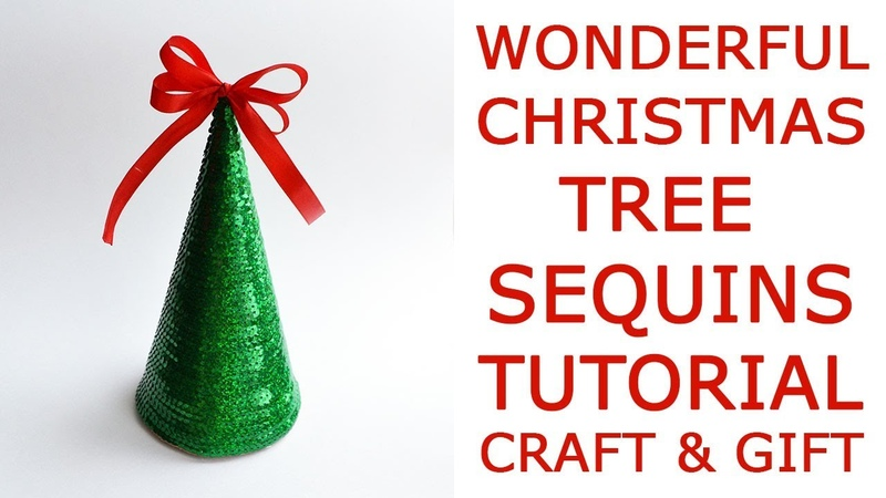EASY! How to make a shiny CHRISTMAS TREE | SEQUINS! | Christmas decor Idea gift craft Tutorial DIY