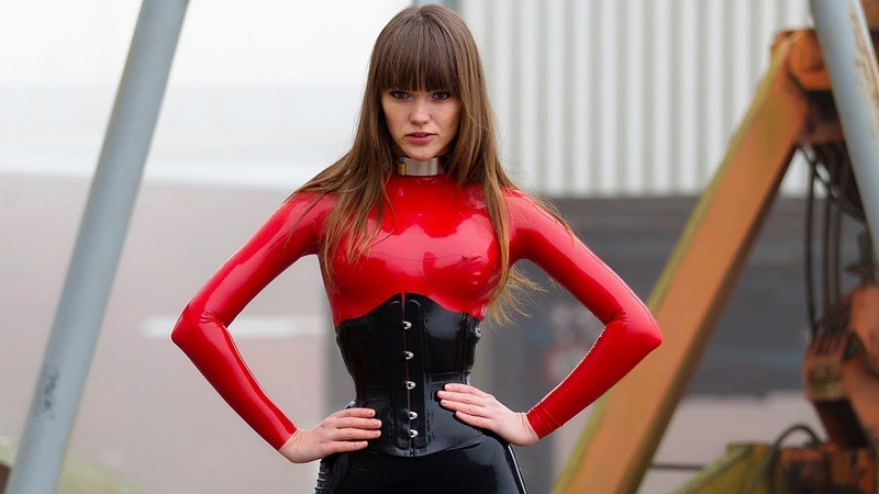 My fetish girl Red and black Latex Catsuit Ballet Boots Latex Gloves